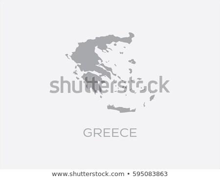 szürke · Görögország · térkép · adminisztratív · háttér · sziluett - stock fotó © Volina