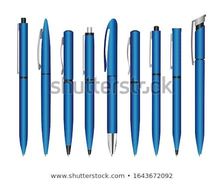 Kék toll izolált fehér iroda művészet Stock fotó © zybr78