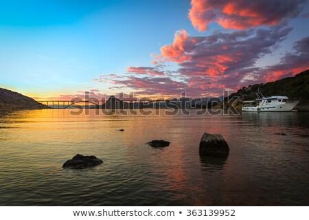 Brug schemering kleurrijk zonsondergang Kroatië water Stockfoto © fisfra