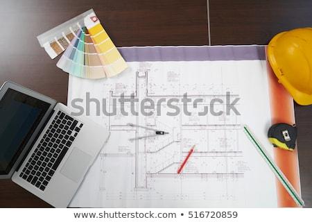 construcción · herramientas · papel · casa · edificio · pluma - foto stock © tannjuska