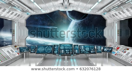 космический корабль интерьер иллюстрация Cartoon графических сцена Сток-фото © benchart