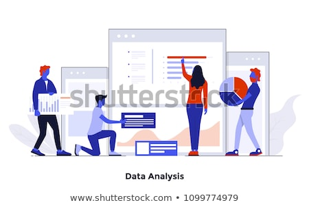data processing on blue in flat design stock photo © tashatuvango