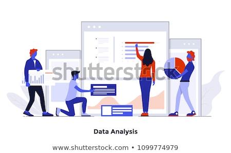 Data Processing on Blue in Flat Design. Stock photo © tashatuvango