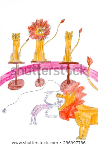 Stock photo: Tamer and lioness on circus arena