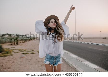 Fiatal nő vidék nő fű nap mac Stock fotó © monkey_business