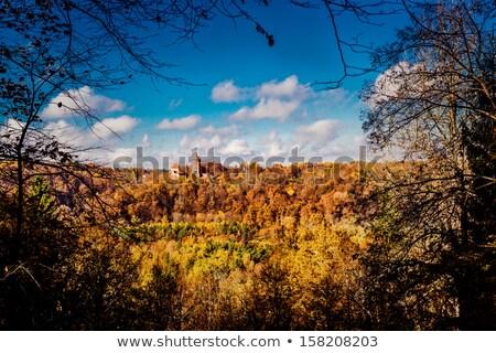 Kasteel pittoreske najaar landschap Letland hemel Stockfoto © amok