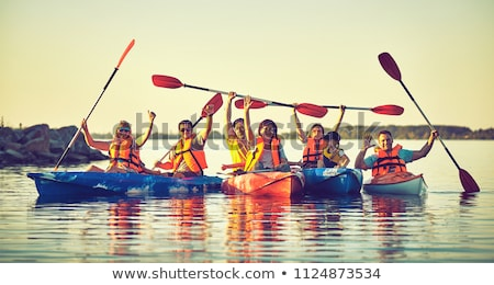 paddling sea kayak on a river Stock photo © PixelsAway