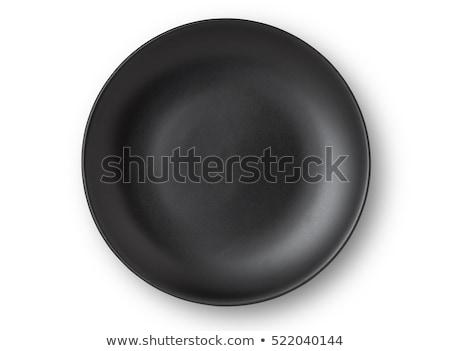 黒 · プレート · クローズアップ · 料理 · 孤立した · 白 - ストックフォト © Aitormmfoto