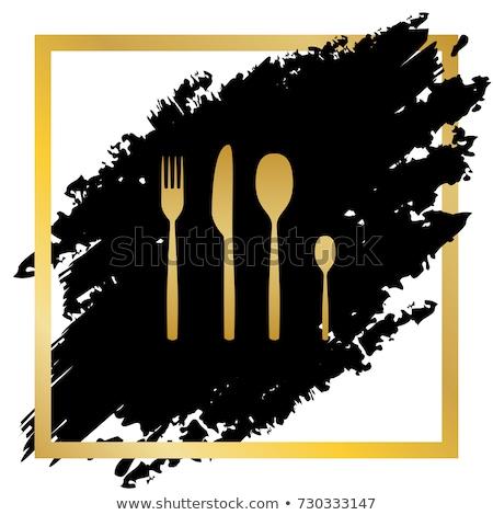 spoon golden vector icon button stock photo © rizwanali3d