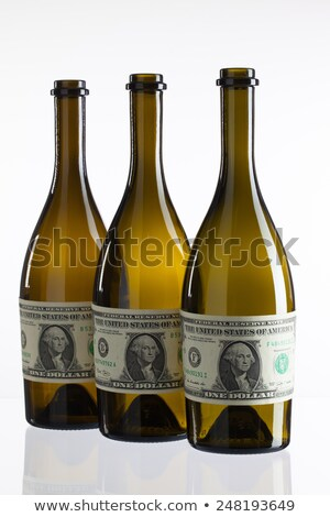 Vazio garrafas vinho etiqueta dólar projeto de lei Foto stock © CaptureLight