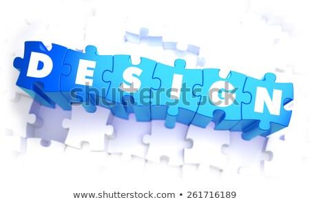 Projektu słowo niebieski kolor tom puzzle Zdjęcia stock © tashatuvango