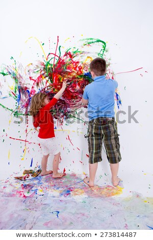 Siblings Painting Contemporary Art on White Wall Stock photo © ozgur