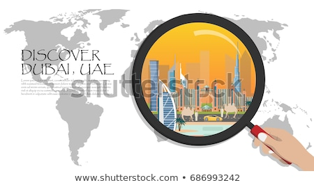 cityscape with world map and icons stock photo © cherezoff