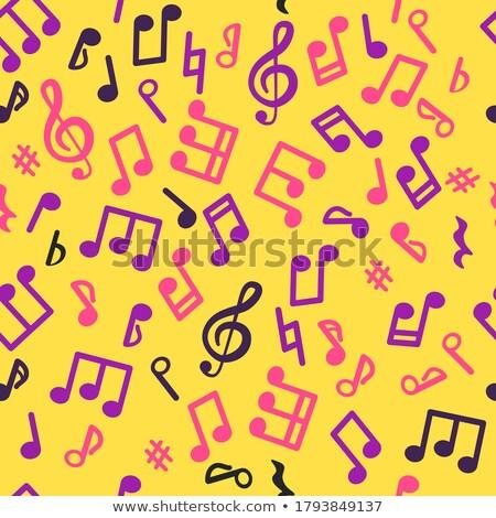 music notation repeating pattern on a yellow background Stock photo © Tatik22