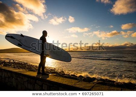 Surfista silueta Portugal playa tabla de surf anochecer Foto stock © joyr