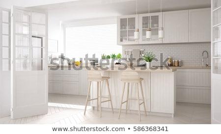 Empty kitchen with white cabinets Stock photo © wavebreak_media