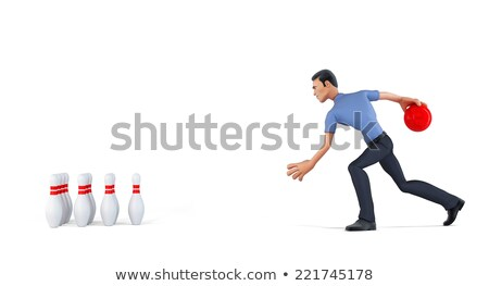 3d businessman playing bowling isolated contains clipping path stock photo © kirill_m