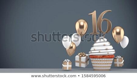 édes 16 születésnapi üdvözlet illusztráció rózsaszín szív Stock fotó © Irisangel