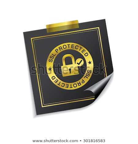 SSL Protected Golden Sticky Notes Vector Icon Design Stock photo © rizwanali3d