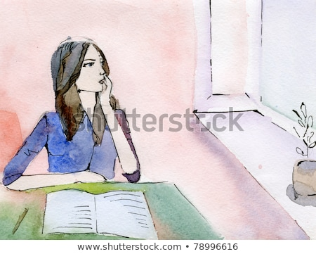 Thoughtful Woman with Flowers Leaning on Window Stock photo © juniart