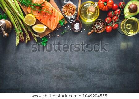 сырой лосося рыбы филе вино лимона Сток-фото © Kayco