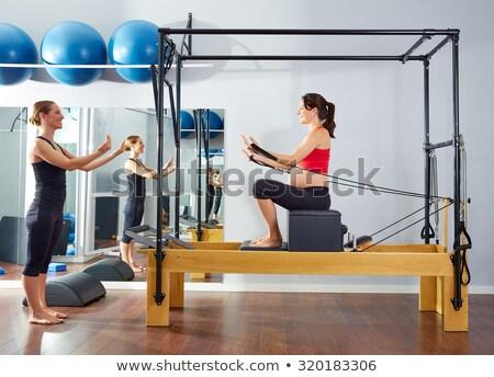 ピラティス 女性 短い ボックス 行使 トレーニング ストックフォト © lunamarina