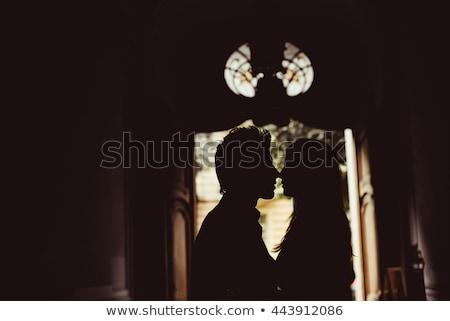 Yeni evli çift pencere damat oturma pencere eşiği Stok fotoğraf © bezikus
