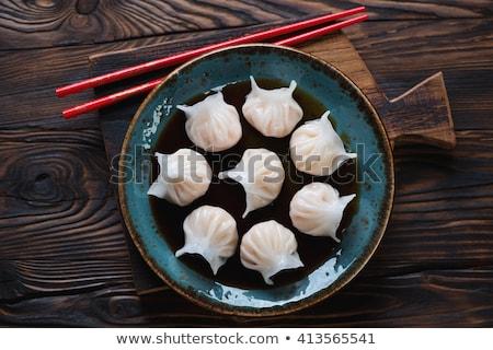 Kínai dim sum fából készült tányér stock fotó Stock fotó © nalinratphi
