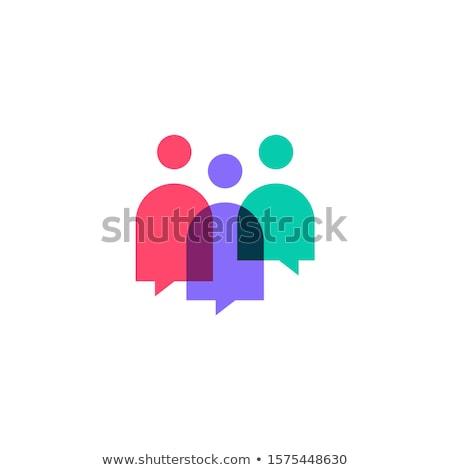 absztrakt · emberek · logo · felirat · ikon · kék - stock fotó © mcherevan