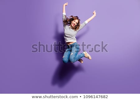 springen · meisje · weide · hemel · lichaam · Blauw - stockfoto © ongap