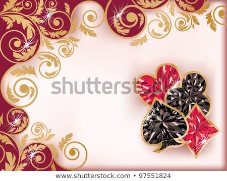 Casino card with ruby hearts poker element, vector illustration Stock photo © carodi