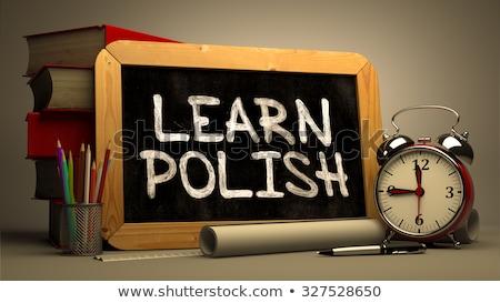 learn polish   chalkboard with hand drawn text stock photo © tashatuvango