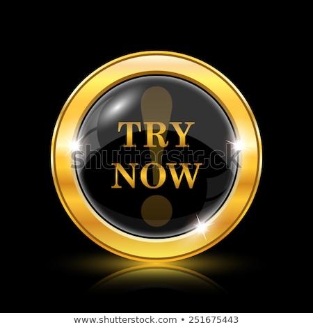 Try Now golden Vector Icon Design Stock photo © rizwanali3d