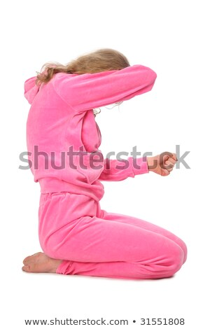 Stock photo: Girl in pink clothes represents  letter e