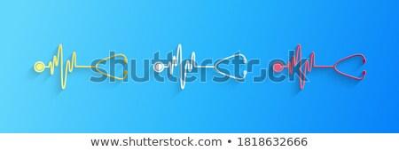 Estetoscópio batida de coração gráfico cardiograma médico fundo Foto stock © tetkoren