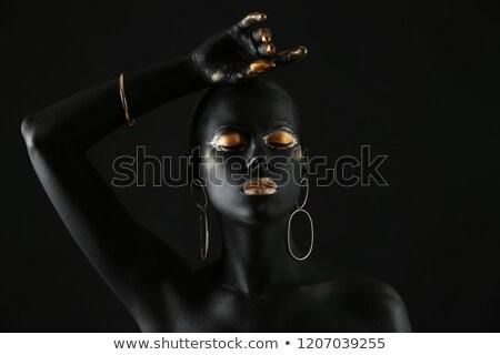 Porträt · schönen · Brünette · Dame · posiert · rock - stock foto © gromovataya