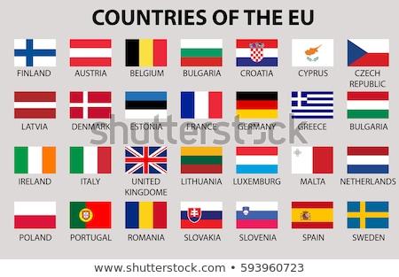 Stock fotó: Zászlók · EU · országok · vektor · integet · fehér