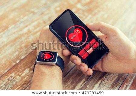Siyah akıllı izlemek kalp hızı ikon Stok fotoğraf © dolgachov