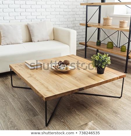 Marrom madeira mesa de café vetor projeto ilustração Foto stock © RAStudio