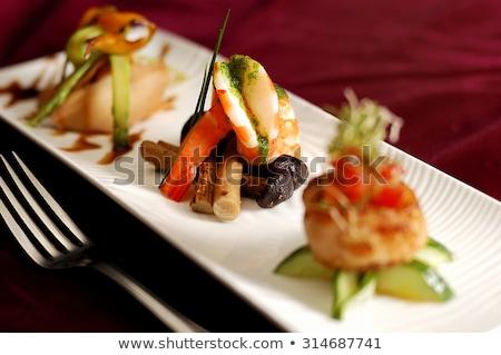 Előétel ízletes elegáns tányér hús bors Stock fotó © Digifoodstock