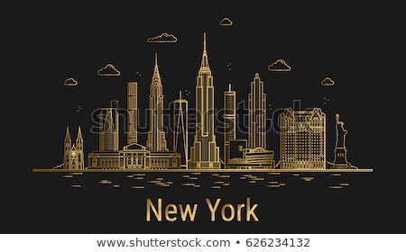 the gold vector statue of liberty on black background Stock photo © sdmix