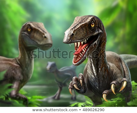 dinosaur in the habitat illustration of velociraptor stock photo © conceptcafe