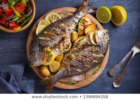 рыбы · картофеля · продовольствие · обед · еды · лосося - Сток-фото © m-studio