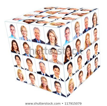Cube of people faces collage Stock photo © zurijeta