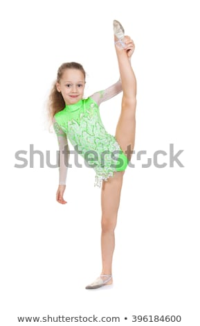 Cute little girl gymnast with a highly raised leg. Stock photo © O_Lypa