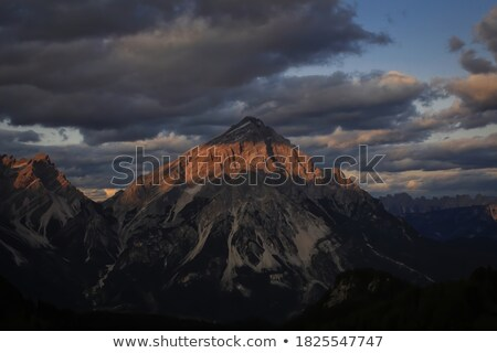 sunset with red clouds in the Alps Stock photo © meinzahn