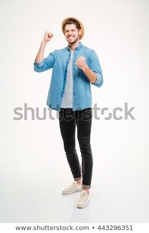 Photo stock: Portrait · heureux · jeune · homme · chapeau · permanent · souriant
