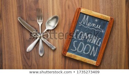 Binnenkort houten tafel woord kantoor school frame Stockfoto © fuzzbones0