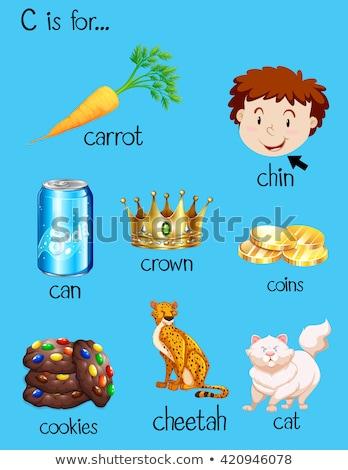 C betű korona illusztráció háttér művészet oktatás Stock fotó © bluering