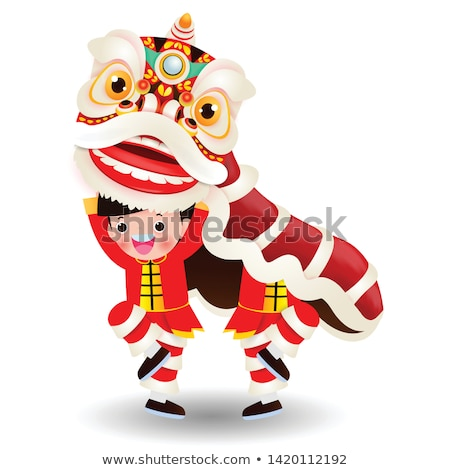 Menino jogar leão fantoche ilustração criança Foto stock © bluering